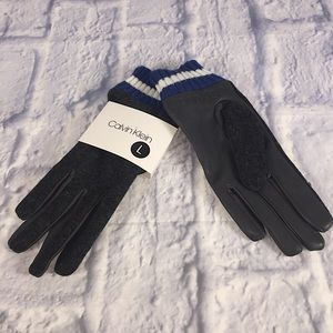 Calvin Klein Leather/Knit Combo Touch Gloves